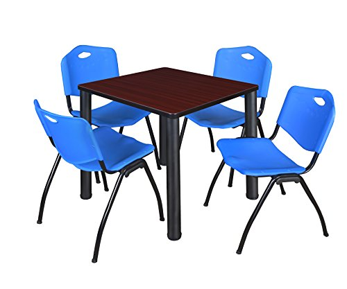 "Kee 30"" Square Breakroom Table- Mahogany/ Black & 4 'M' Stack Chairs- Blue"