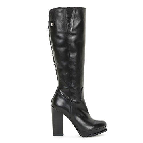 By 12 Con Pelle Scarpe Cerniera E amp;scarpe Nero Tacco Alesya Stivali Sfilata Punta In Posteriore Cm qO1Cnd