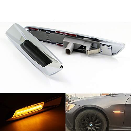 Grey Chrome Lens - Paision 2pcs LED Side Marker Light for BMW E90 E91 E92 E93 Fender Turn Signal Light Chrome Type+grey Lens