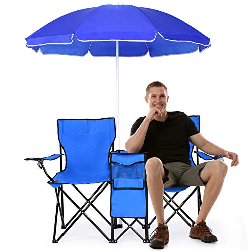 Goplus Double Folding Picnic Chairs w/Umbrella Mini Table Beverage Holder Carrying Bag for Beach Patio Pool Park Outdoor Portable Camping Chair (Blue)