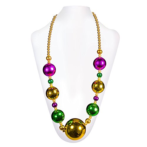 "Jumbo Mardi Gras Bead Necklace - 44"" Inch"