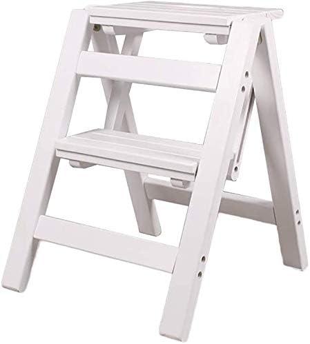 HOMRanger Escalera Plegable - Taburete con peldaño Escalera pequeña de Madera Taburete Plegable con 2 peldaños - Taburete Plegable Escalera portátil con Taburete: Amazon.es: Hogar