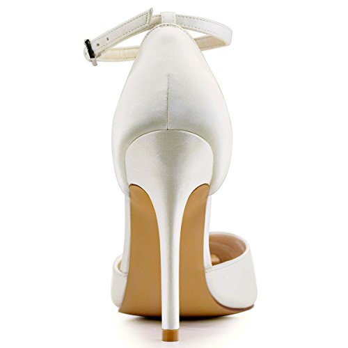 Satin Strap Pointed Pumps Heel Dress D'Orsay Ankle High Elegantpark Ivory Toe Women's 8vxqHHY