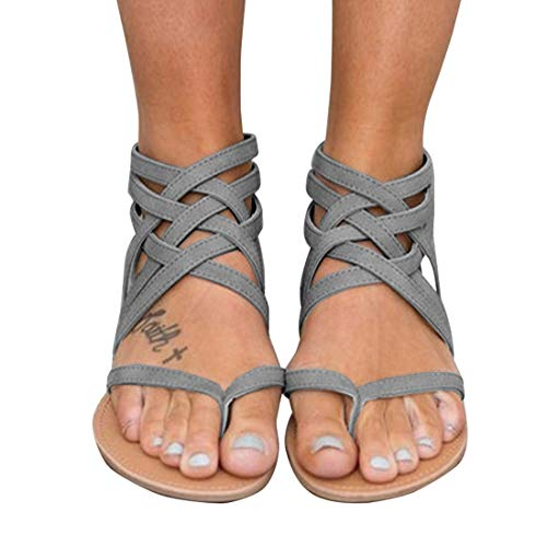 (Xiakolaka Womens Strappy Sandals Flat Gladiator Cross Strap Thong Toe Shoes Grey 40)