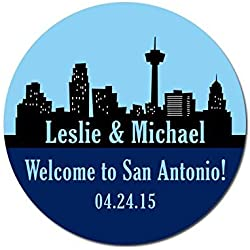 Personalized Customized Wedding Favor Stickers - San Antonio Skyline - Out Of Town Guest Bags - Choose Your Size
