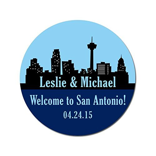 Personalized Customized Wedding Favor Stickers - San Antonio Skyline - Out Of Town Guest Bags - Choose Your Size -