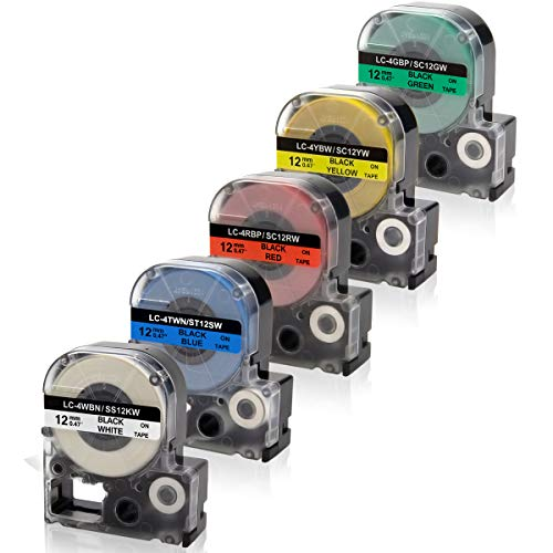 Absonic LK-4WBN LK-4LBP LK-4RBP LK-4YBW LK-4GBP Labeling Tape Cartridge Compatible for Epson LabelWorks LW-300 LW-400 LW-500 LW-600P LW-700 LW-900 LW-1000P Label Maker, 1/2 x 26, 12mm x 8m, 5-Pack