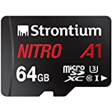 Strontium Nitro 64GB Micro SDXC Memory Card 100MB/s A1 UHS-I U3 Class 10 w/Adapter High Speed For Smartphones Tablets Drones Action Cams (SRN64GTFU3A1A)