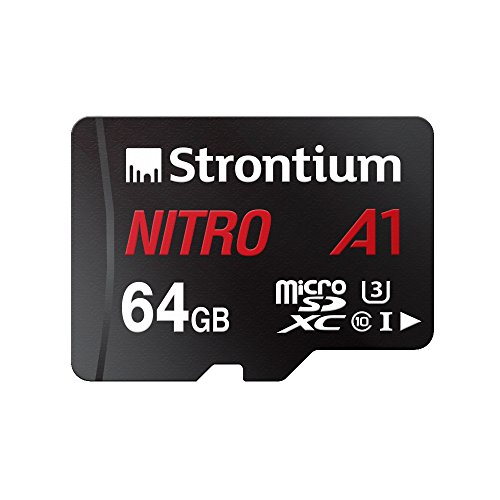 Price comparison product image Strontium Nitro 64GB Micro SDXC Memory Card 100MB / s A1 UHS-I U3 Class 10 w / Adapter High Speed for Smartphones Tablets Drones Action Cams (SRN64GTFU3A1A)