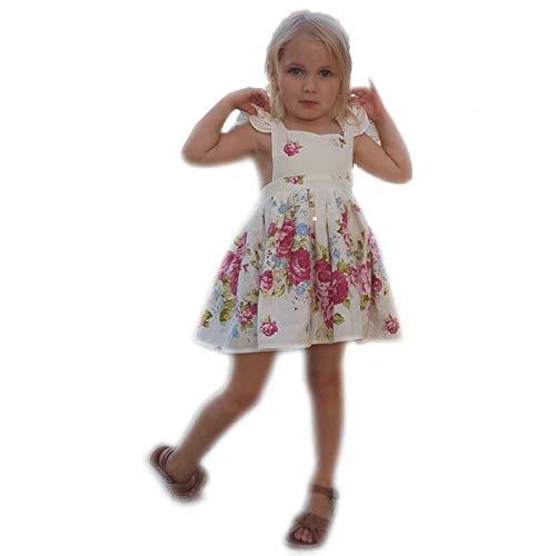 Flofallzique Vintage Floral Girls Dress Rose Baby Clothes Backless Sundress for Toddler