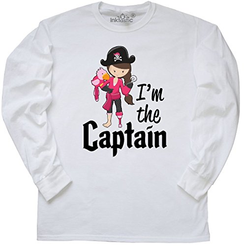 inktastic Captain- Pirate Girl Long Sleeve T-Shirt Small White - Pirate Shirts For Girls