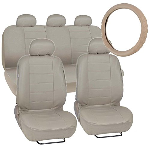(Motor Trend Premium Leatherette Car Seat Covers - Taupe Beige PU Leather w/Comfort Grip Steering Wheel Cover)