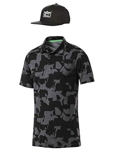 Rickie Fowler Masters Puma Golf Polo & Hat Bundle (2019) | Puma Union Camo Polo & Cobra Tour Crown 110 Snapback (Iron Gate/Black, X-Large)