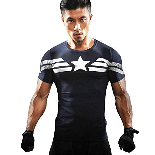 Cool Dry Compression Running Tee Short Sleeve Captain America Costume Shirt M -