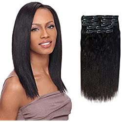 Vanalia 9A Yaki Straight Clip in Hair Extensions Double Wefted Natural Black 100% Remy Human Hair 120 Gram 7 Pieces 18 Clips for African American Black Women Yaki 16 Inch