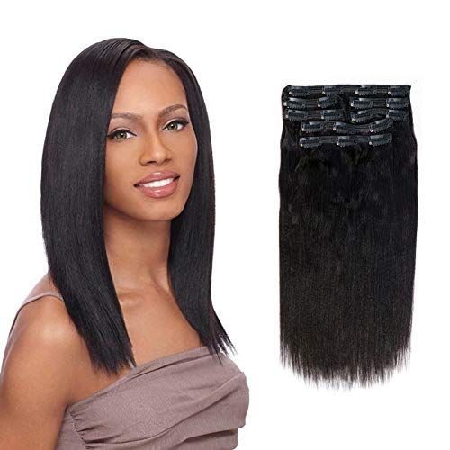 Vanalia 9A Yaki Straight Clip in Hair Extensions Double Wefted Natural Black 100% Remy Human Hair 120 Gram 7 Pieces 18 Clips for African American Black Women Yaki 16 Inch ()