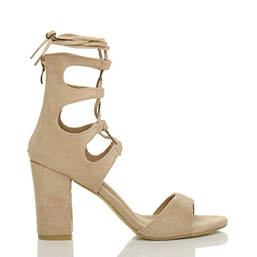Beige Ajvani Lace Heel Shoes Ankle Suede Womens Sandals Tie Size Around Wrap High up 4Fa47wxn