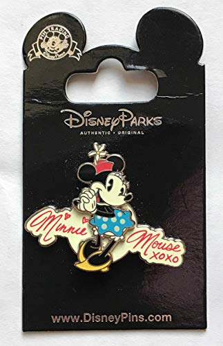 (Disney Pin Minnie Mouse Blue Dress Autograph Hugs and Kisses XOXO Pin)