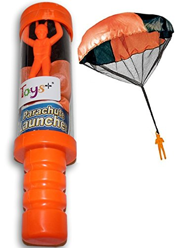 Toy Skydiver Parachute Man With Launcher Tangle Free (Colors and Styles May Vary)