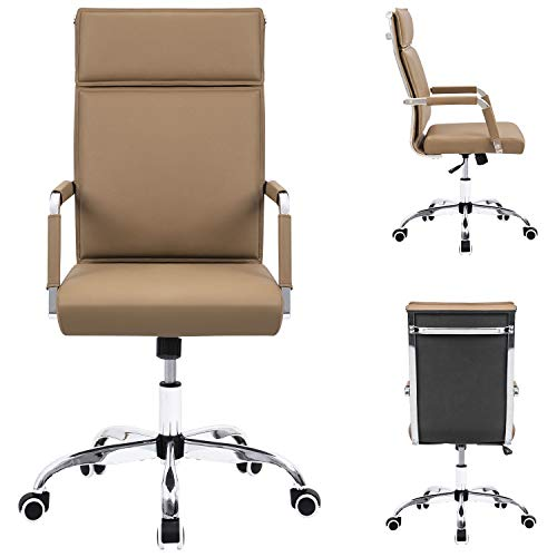 Homall Office Desk Chair Mid-Back Computer Chair Leather Executive Adjustable Swivel Task Chair Conference Chair with Armrests (Brown) by Homall (Image #1)