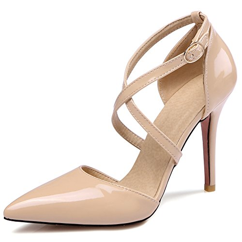 Women's High Heel Stiletto Pointed Toe Pumps(Apricot) - 3