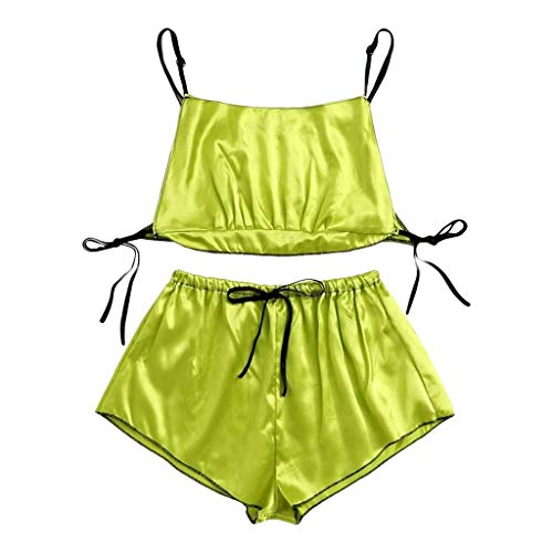 LIM&SHOP Pajamas Nightwear 2-3 Piece Set Sleepwear Sexy Satin Cami and Shorts Lace 2020 New Women's Sleepwear Set H-Green