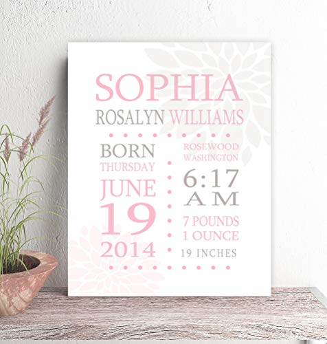 Birth Canvas - Birth Stats Canvas Print Birth Announcement New Parent Gift Nursery Art Personalized Custom Pink Gray 11x14