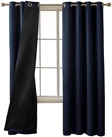Deconovo Total Blackout Solid Thermal Insulated Faux Silk Satin Grommet Window Curtains for Bedroom, 52×95 inch, Navy Blue