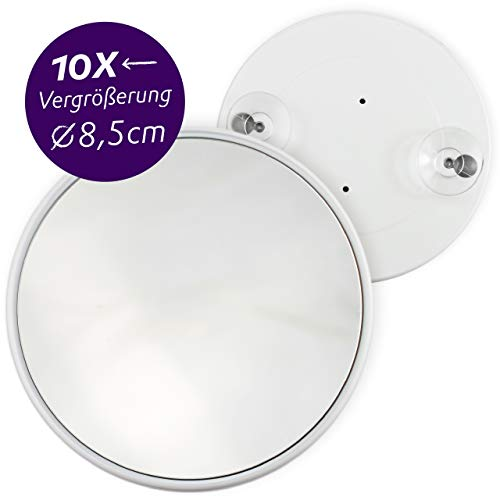 Pad Suction Mirror (Fantasia 10x Cosmetic Magnifying Mirror, Portable Travel Make-up Mirror with Synthetic Frame and Suction Cups, Round Makeup Mirror with x10 Zoom for Shaving, tweezing, Hairdressing, etc.)