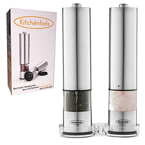 Kitchentials Stainless Steel Electric Salt and Pepper Grinder Mill Set Battery Operated with LED Light and Holder Stand with Adjustable Coarseness