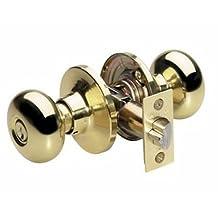 Master Lock BCO0103 Biscuit Keyed Entry Door Knob, Bright Brass