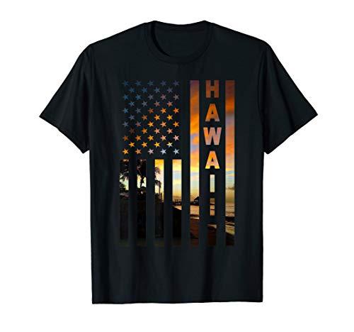 Hawaii Sunset American Flag Honolulu Hawaiian Island T-Shirt ()