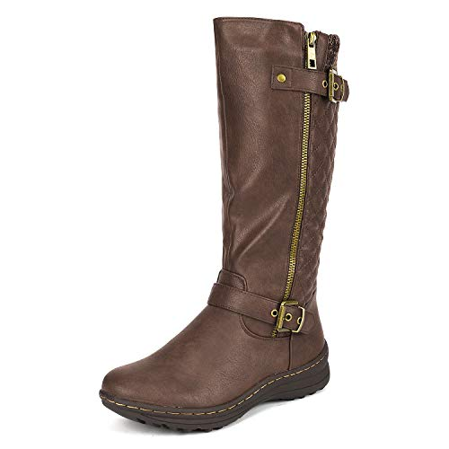 dream-pairs-womens-urva-brown-faux-fur-lining-retro-buckle-knee-high-riding-boots-size-6-bm-us