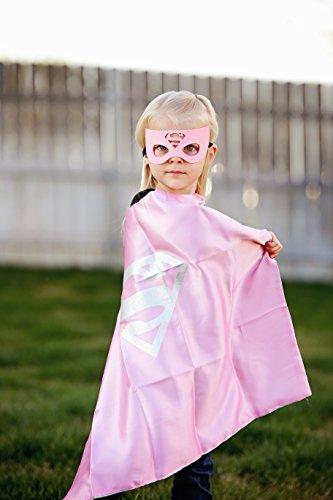 Maggie's Market Superwoman Super Hero Cape & Mask - Light Pink and Silver Hero Cape, Super Hero Mask & Cape, Superwoman -