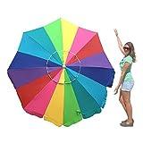 EasyGo 7 Foot Rainbow Beach Umbrella Heavy Duty Design Includes Sand Anchor & Carry Bag