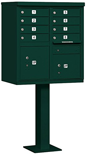 Salsbury Industries 3308GRN-P Cluster Box Unit with Pedestal and Master Locks, 8 A Size Doors, Type I, Green by Salsbury Industries