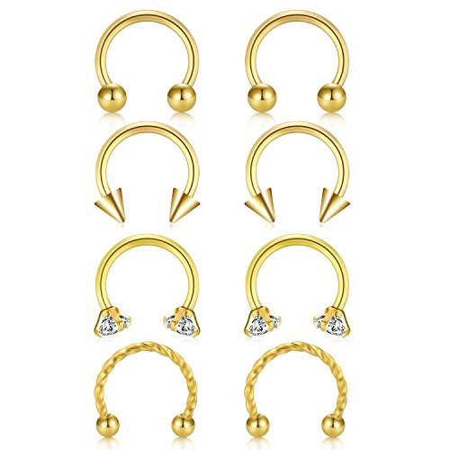 JFORYOU Gold Horseshoe Circular Barbell CZ Stone Braided Barbell Nose Septum Rings Hoop Lip Ring Helix Cartilage Tragus Earring 316L Surgical Steel 16G 5/16