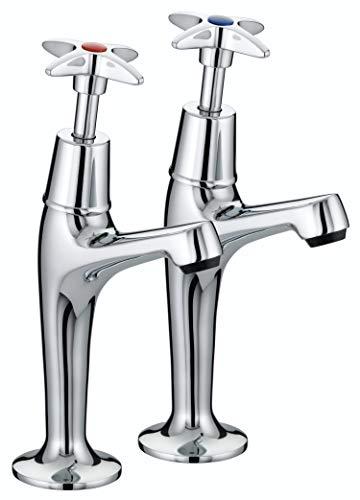 (Bristan VAX HNK C Value Crosshead High Neck Kitchen Sink Pillar Taps, Chrome)