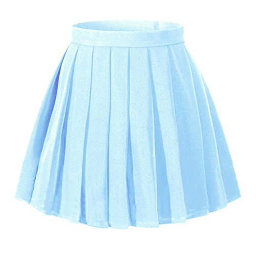 - Girl's Dress up Cosplay Costumes High Waist School Skirt£¨S,Light blue)