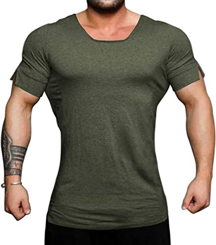 COOFANDY Men's Workout Shirts Short Sleeve Muscle Tee Training Bodybuilding Fitness Cotton Gym T Shirt (Small, Army Green22) ()