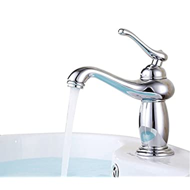 ELLO&ALLO 7.08  Single Handle Bathroom Sink Faucet Lavatory Faucet Basin Vanity Sink Faucet Contemporary One Hole Deck Amount, Polished Chrome
