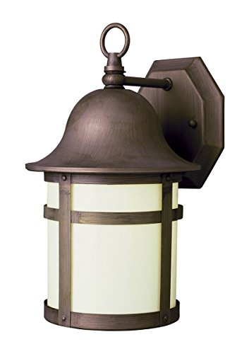 Wall Sconces 1 Light Fixture with Weathered Bronze Finish Cast Aluminum Glass GU-24 7