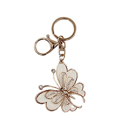 Bling Gold Butterfly Rhinestone Keychain Charm for Purse Handbag Car Pendant (Gold Car Charm)