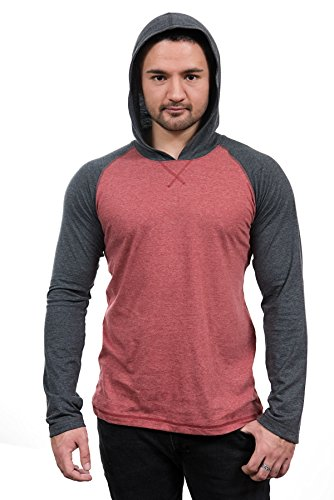 Long Sleeve Raglan Hoodie Pullover T-Shirt with Contrasting Necktape