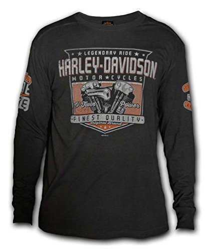 Harley-Davidson Men's Meridian Distressed Premium Long Sleeve Shirt, Carbon (S) - Harley Davidson Carbon