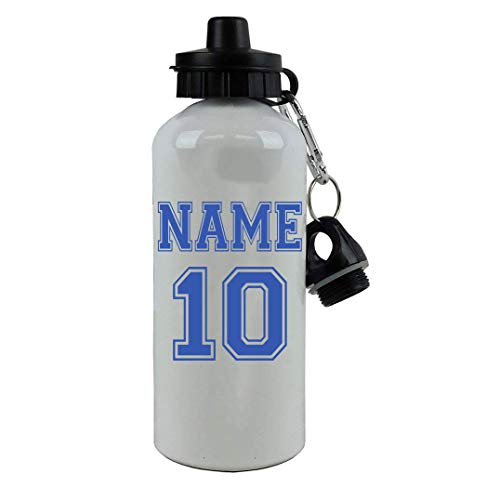 Personalized Custom Soccer, Football, Baseball, Softball Jersey - Add Your Name/Number Aluminum White Finish 20 Ounce 600ML Sport Water Bottle, 2 Lids Customizable (Blue) (Best Softball Jersey Names)