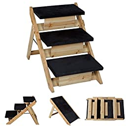 1 Set Leading Popular 2in1 Pet Stairs Ramp Portable Folding Lightweight Dog Steps Ladder Color Black and Wood