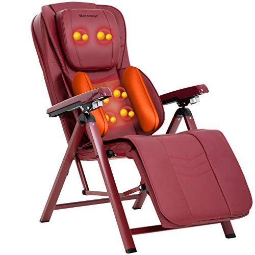 Folding Shiatsu Massage Chair Recliner with Heat Kneading Rollers Seat Vibration Air Pressure for Neck Shoulder Back Hip Thigh Electric Full Body Massage Neck Shoulder Back Massager,Red (Folding Chair Target Lounge)