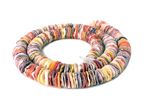 - Multicolored Pectin Shell Heishi Beads (7 - 8 mm / 16 Inches Strand)