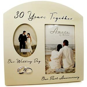 double 30th pearl wedding anniversary photo frame